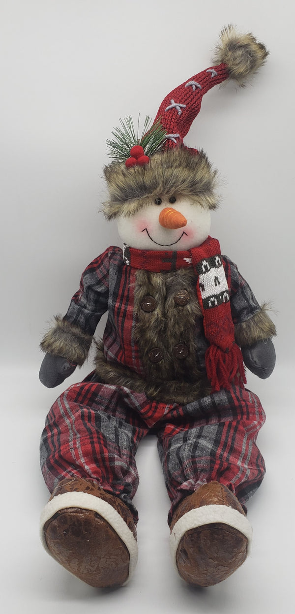 Fluffy snowman and Santa sitting Christmas decorations, design plush