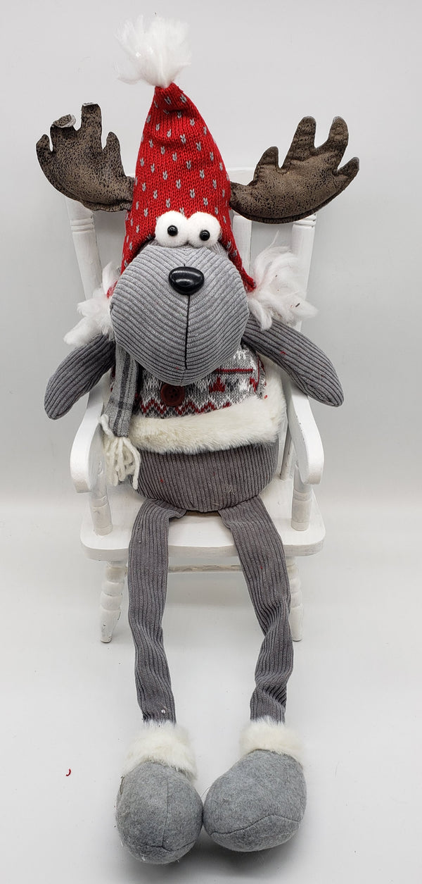 Plush Sitting Moose Christmas Decoration