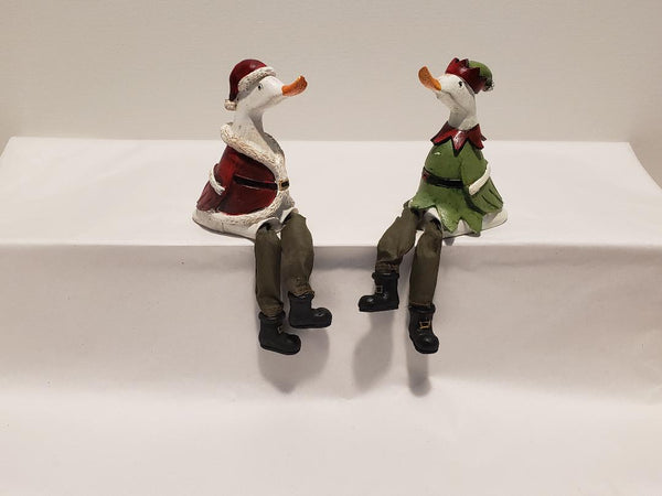 Sitting dangly legs Duck Christmas decorations
