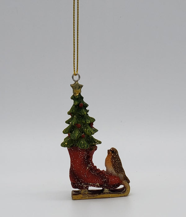 Ice Skate Bird & Tree Christmas Decoration