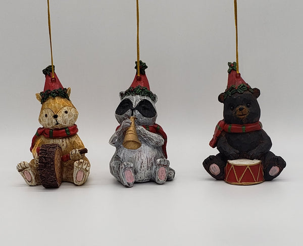 Music Playing Woodland Creature Ornaments