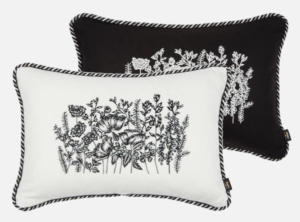 Black and white embroidered cushions