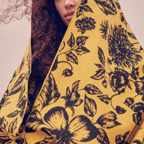Floral Yellow & Black Stole blanket scarf