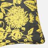 Corner of yellow Shaku upcycled silk scarf cushion