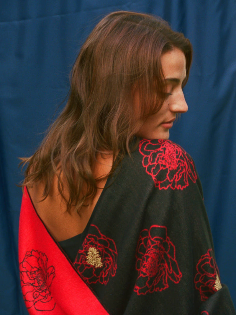 Golden Anther Red Embroidered Stole