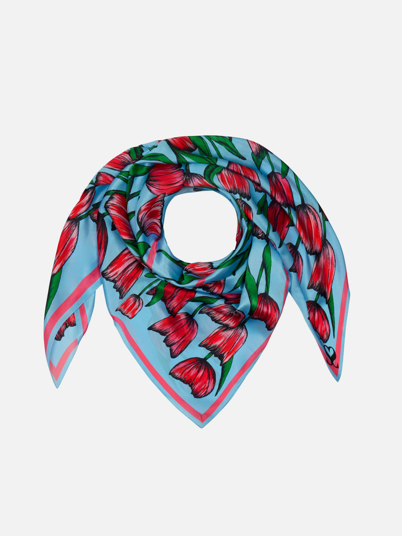 Tulip Tribe - Blue and Pink Floral Square Scarf - Silk Twill