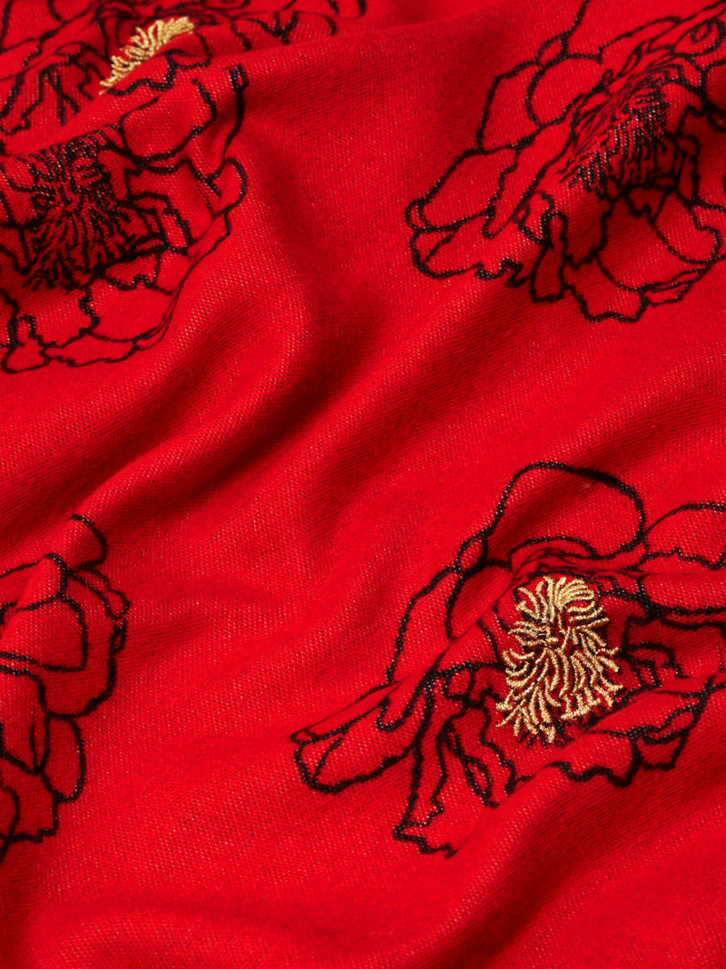 Golden Anther Red - Embroidered Woven Silk Stole Scarf
