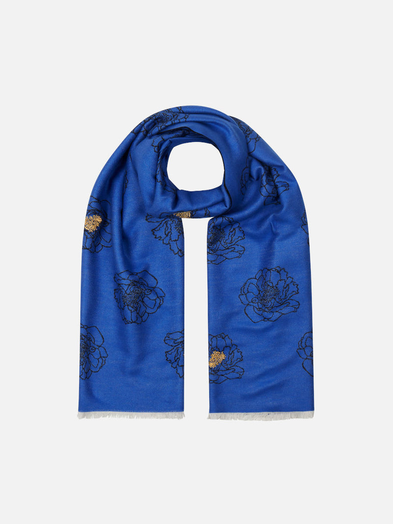 Golden Anther Blue - Embroidered Woven Silk Stole Scarf