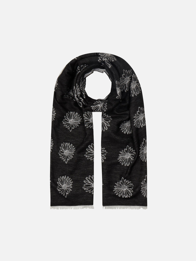 Dainty Daisy Black/White - Woven Silk Stole Long Scarf