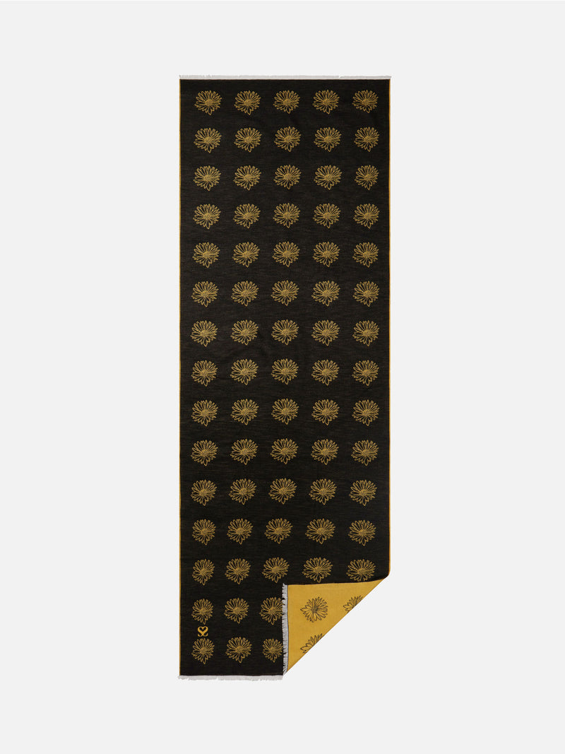 Dainty Daisy Black/Yellow- Woven Silk Stole Long Scarf