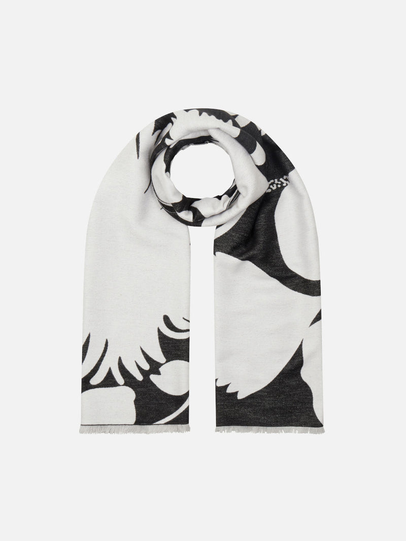 Bloom Silhouette Black/White - Woven Silk Stole Long Scarf