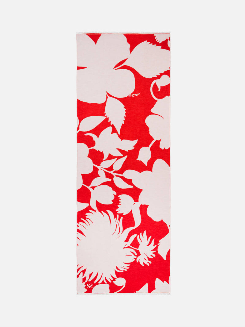 Bloom Silhouette Red/White - Woven Silk Stole Scarf
