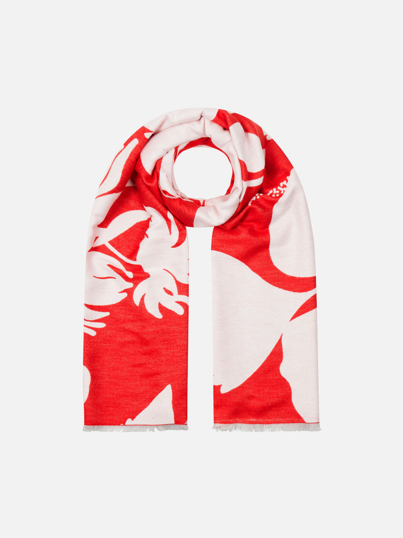 Bloom Silhouette Red/White - Woven Silk Stole Long Scarf