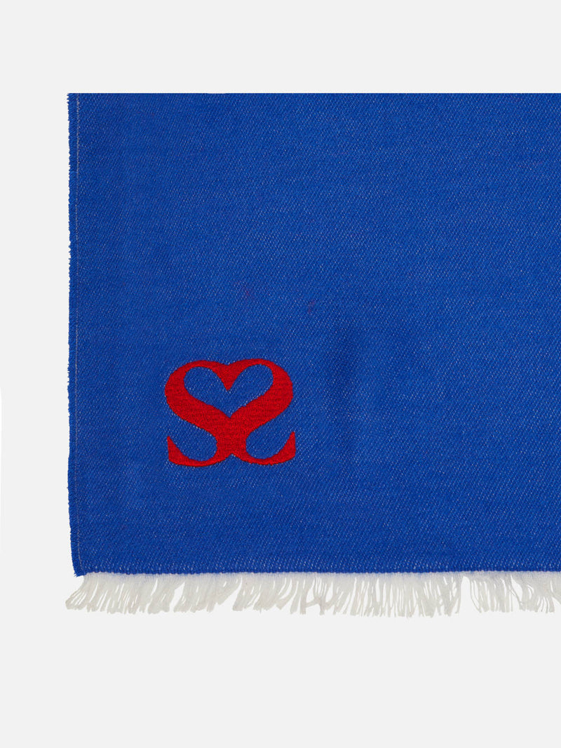 Plain Blue Monogram Stole - Woven Silk Scarf