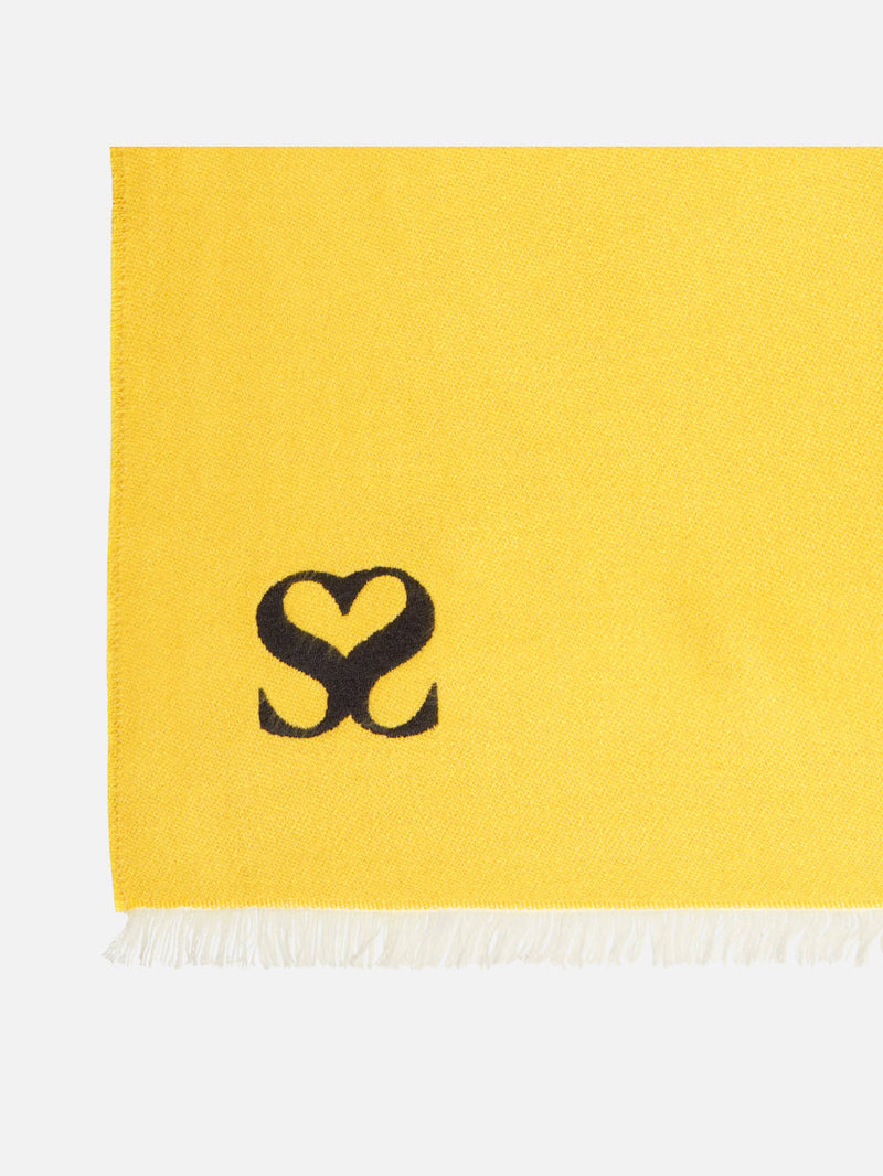 Plain Yellow Monogram Stole - Woven Silk Scarf