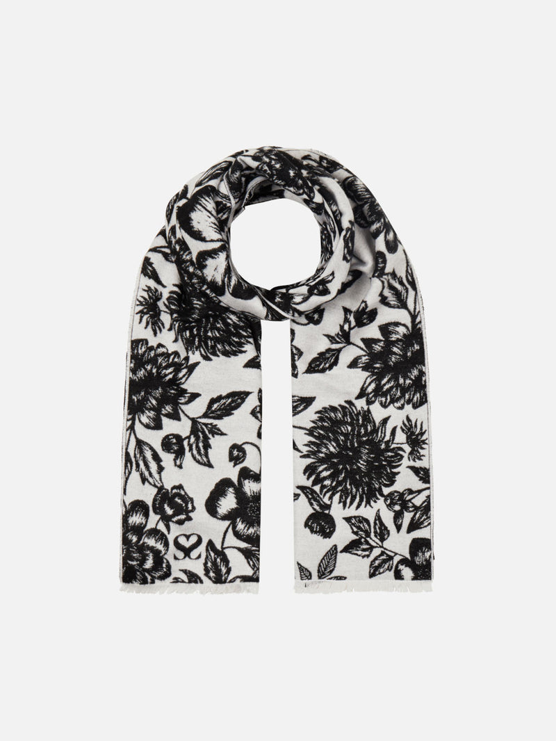 Floral White/Black - Woven Silk Stole Long Scarf