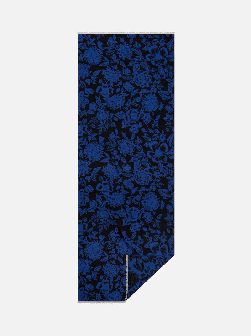 Floral Blue/Black - Woven Silk Stole Long Scarf