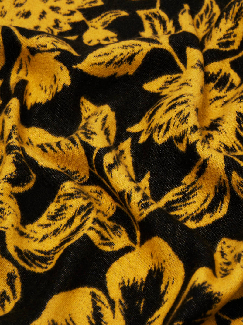 Floral Yellow/Black - Woven Silk Stole Long Scarf