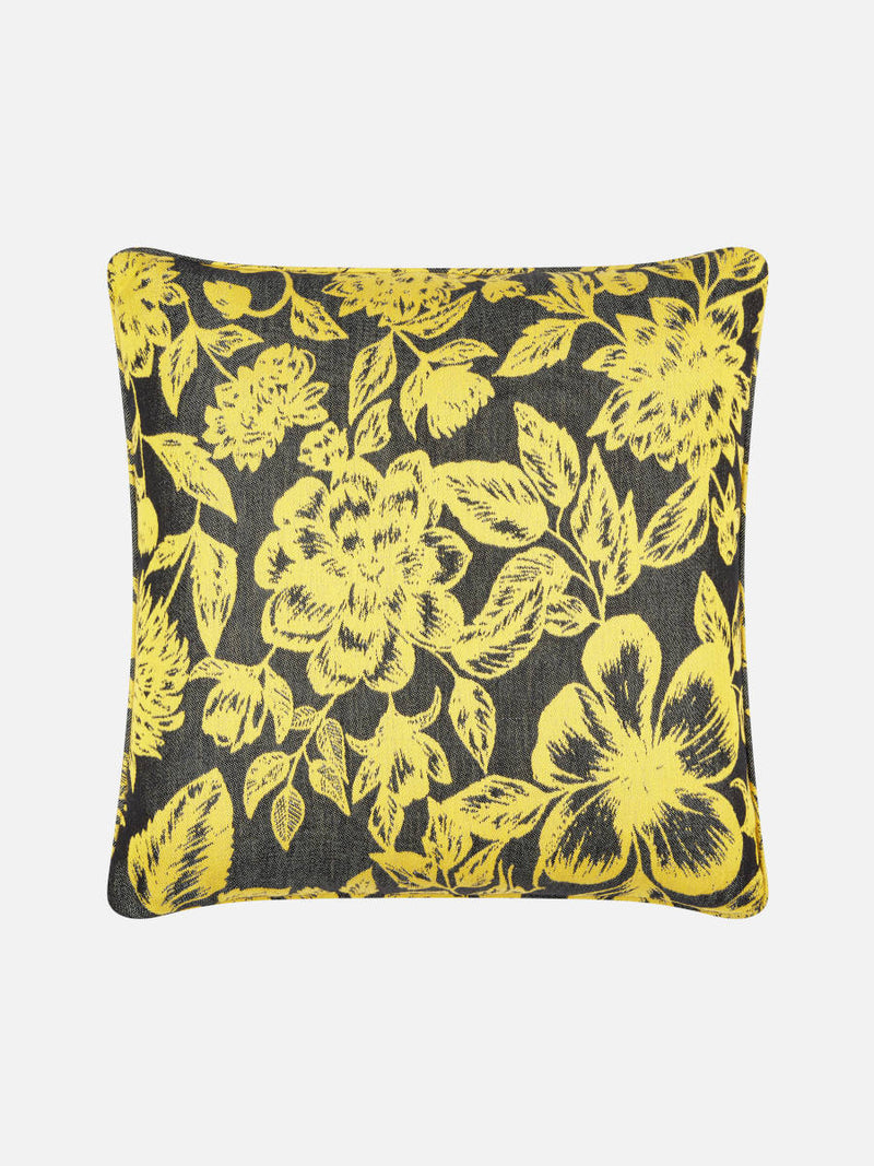 Floral Black & Yellow Cushion