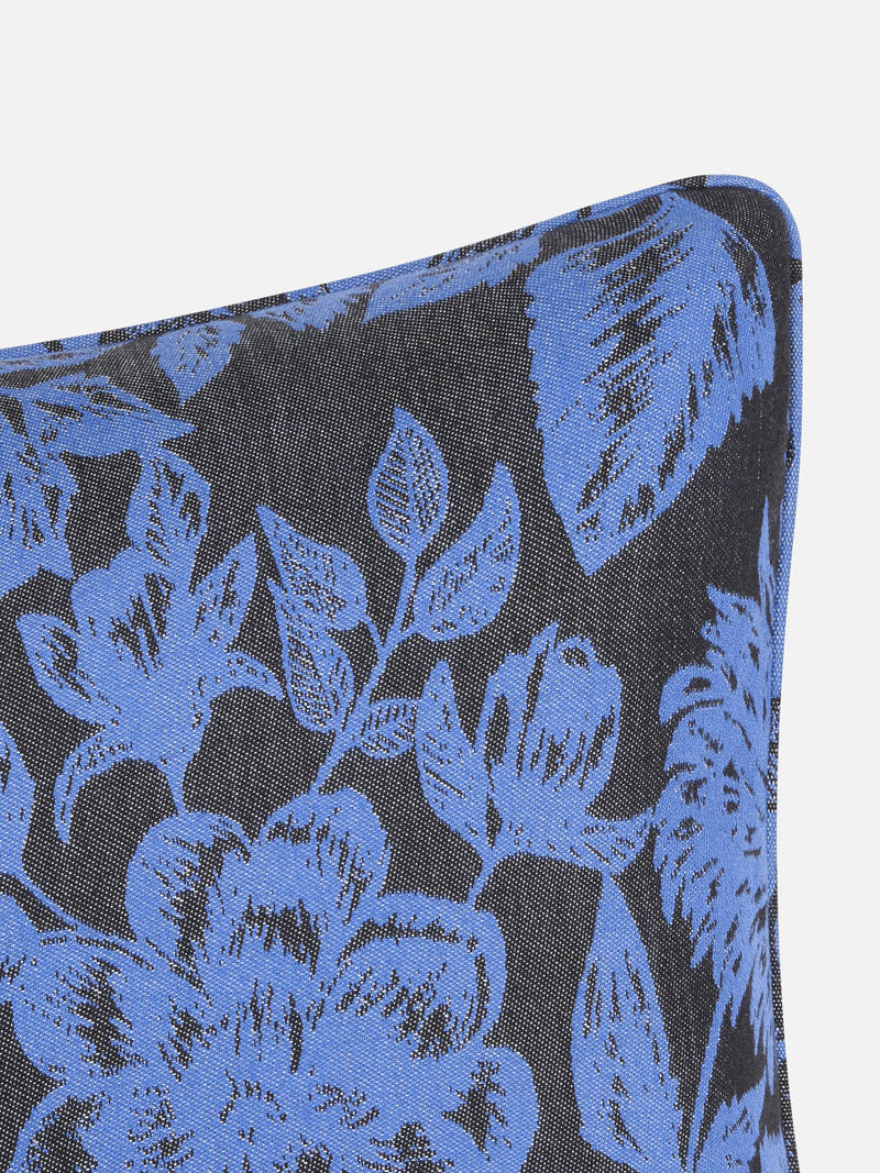 Floral Black & Blue Cushion