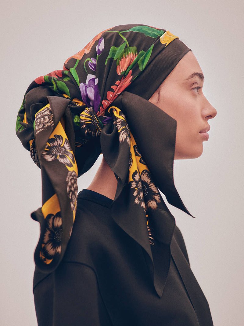 Botanical Garden - Floral Silk Square Scarf Headscarf