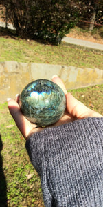 Labradorite Crystal Sphere (flashy)