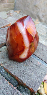 Fire Agate stone in flame freeform
