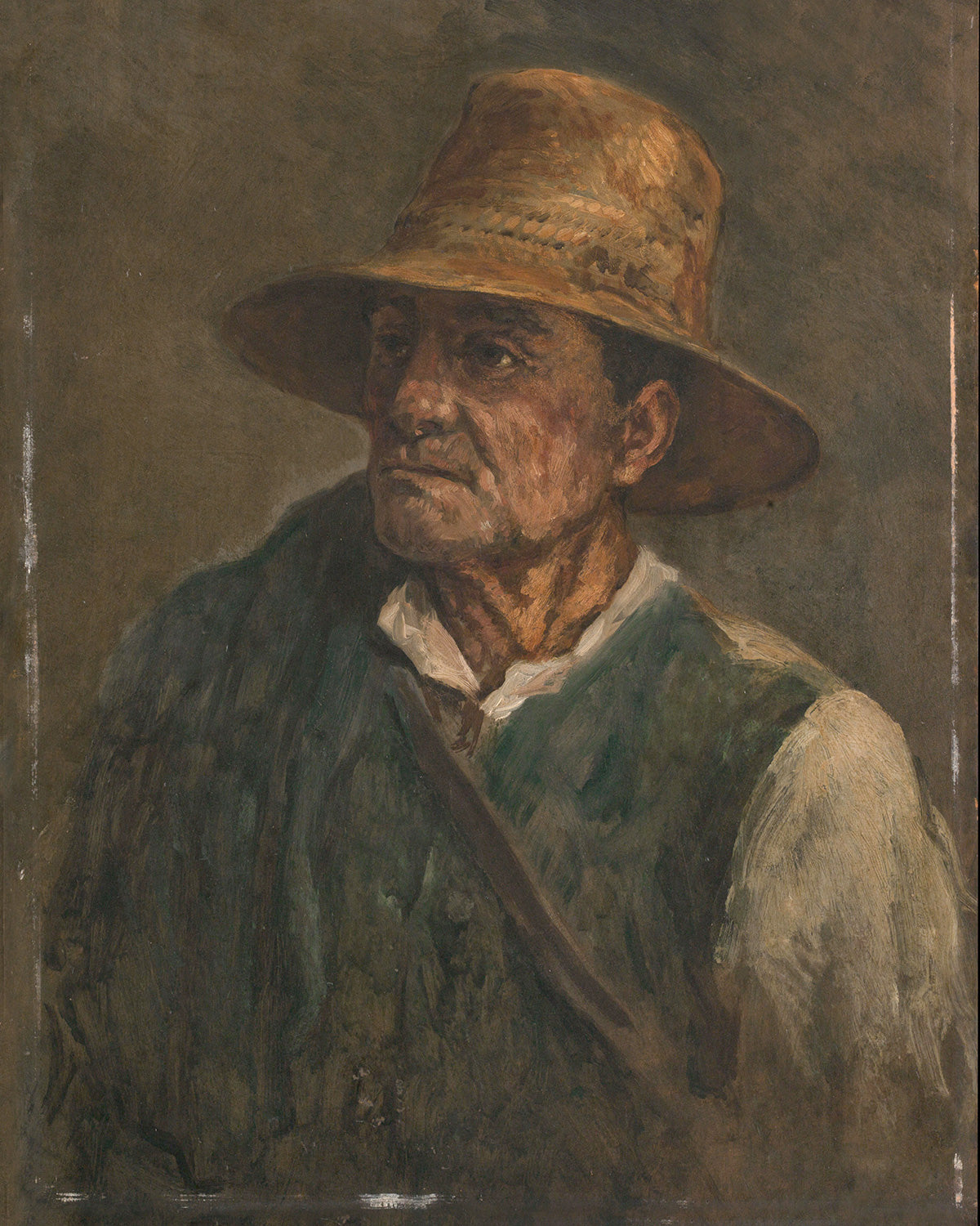Man Wearing Straw Hat