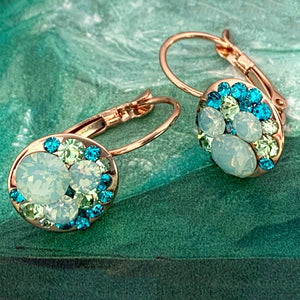 icy opalite - blue zircon crystal earrings
