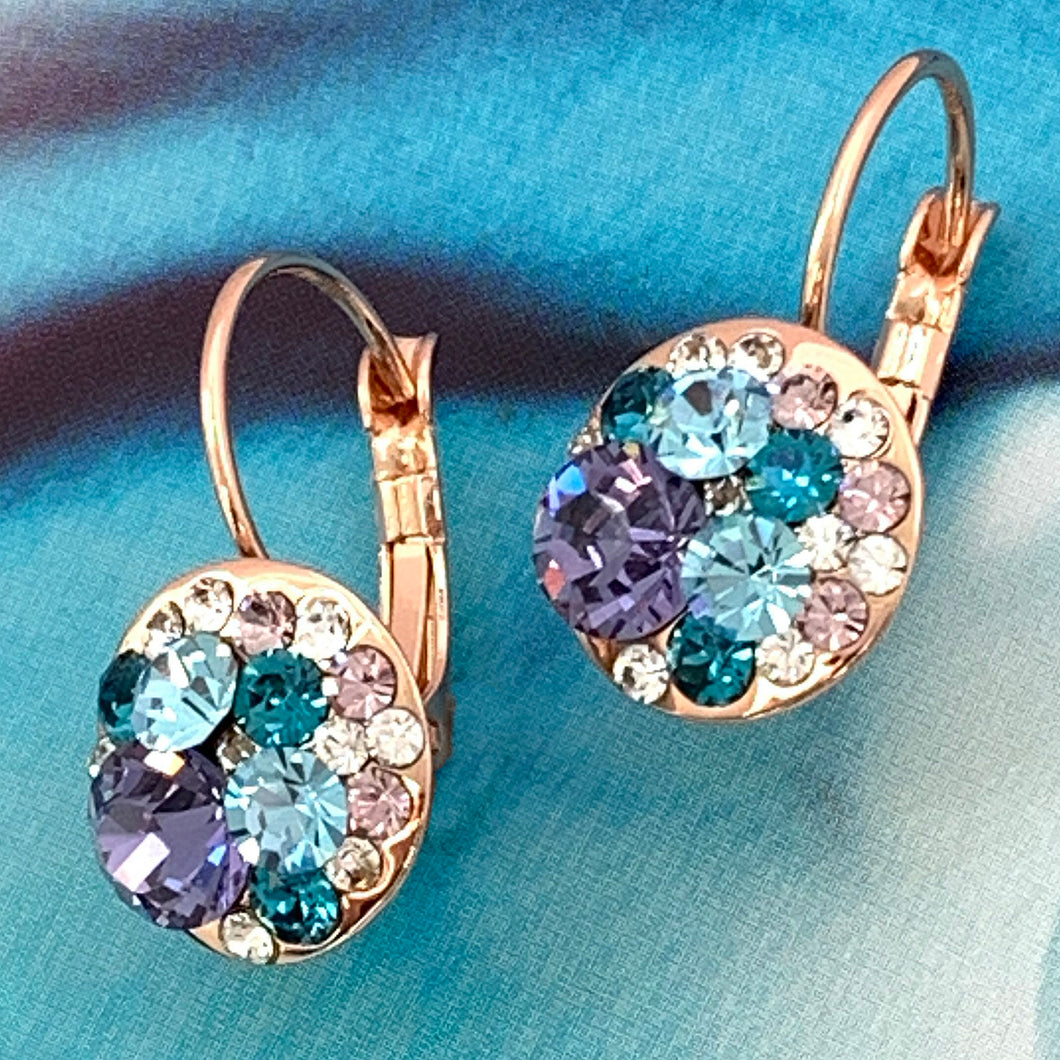 icy tanzanite aqua crystal earrings
