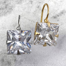 Load image into Gallery viewer, square cut CZ earrings - medium