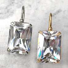 Load image into Gallery viewer, emerald cut CZ earrings - supersize