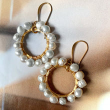 Load image into Gallery viewer, pearl hoop earrings