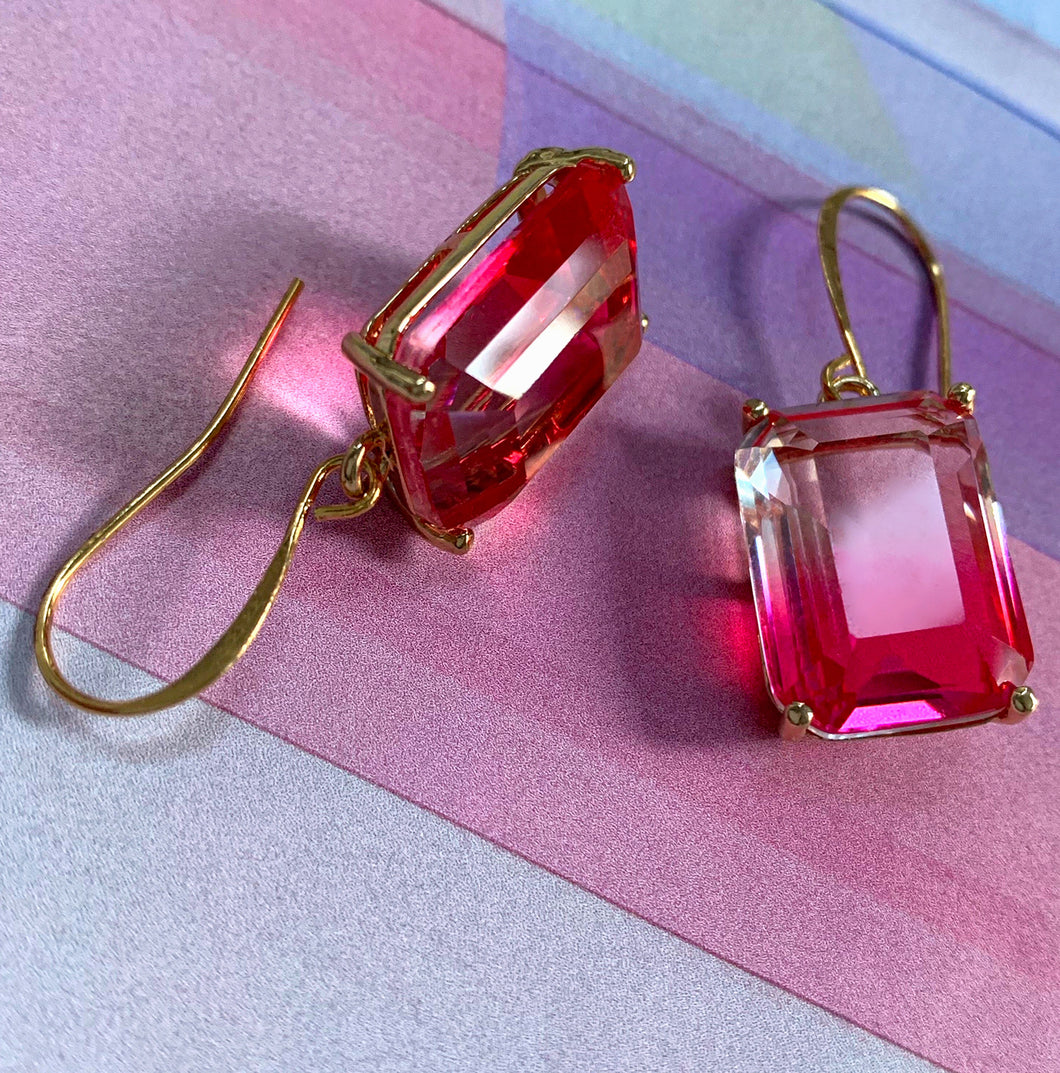pink ombre crystal earrings