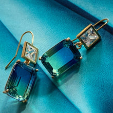 Load image into Gallery viewer, blue green ombre crystal & cz earrings