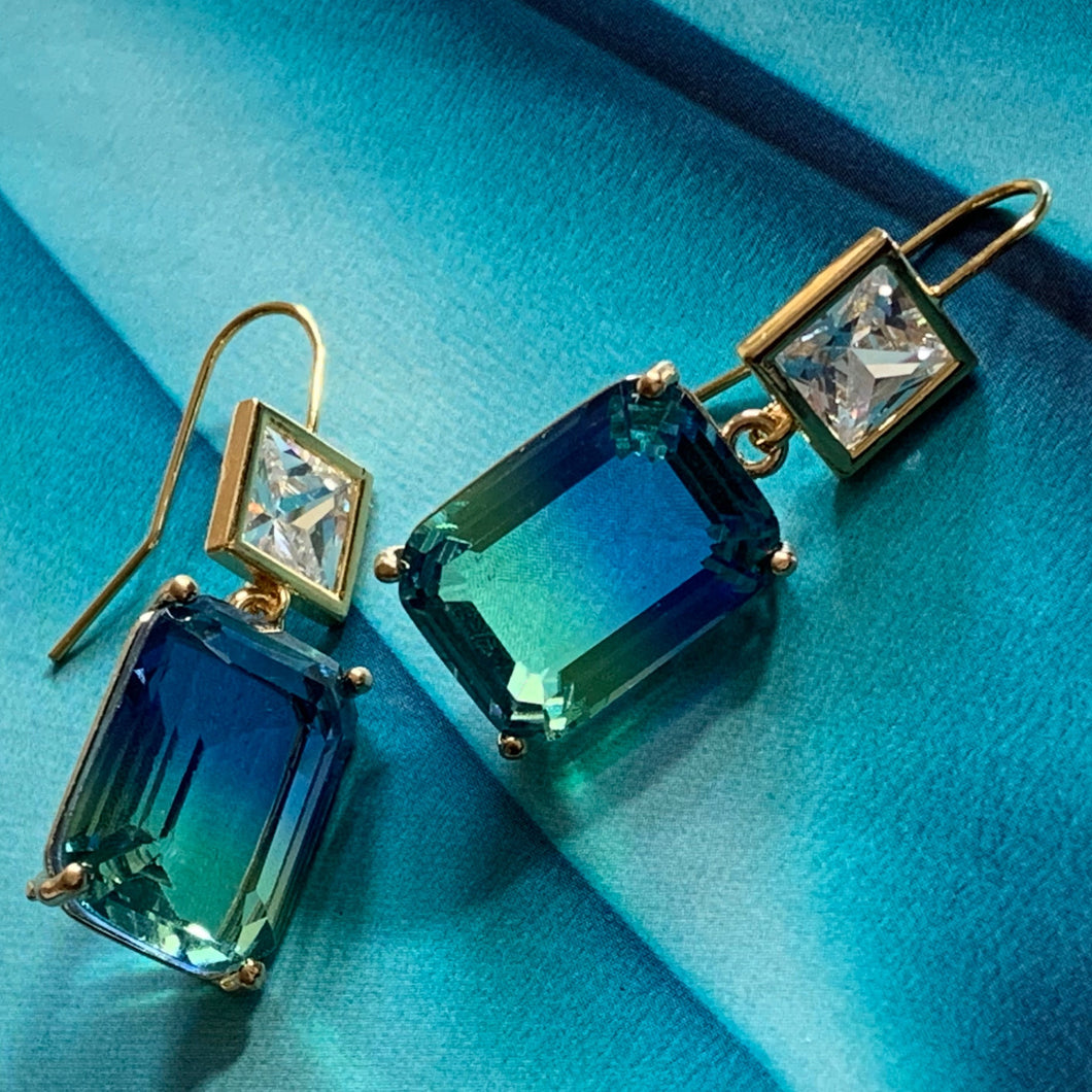 blue green ombre crystal & cz earrings