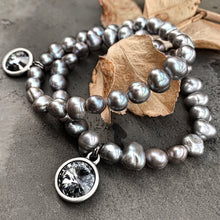 Load image into Gallery viewer, silver night rainbow pearl bracelet