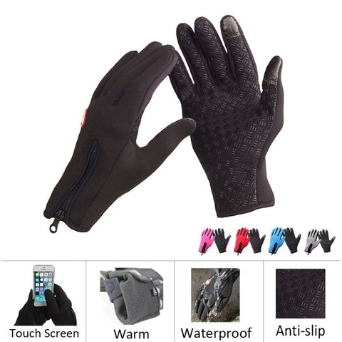 Winter Warm Windproof Waterproof Touch Screen Anti-slip Glove Outdoor Hiking Sports Gloves Riding Bikes Gloves Tactical Mittens Skiing Glove 1Pair