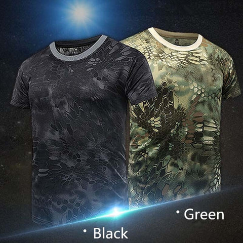 Newest Men's Outdoor Skin Quick Drying Tactical Camouflage Short Sleeved T-shirt