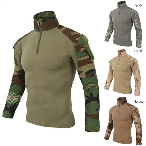 Tactical Camouflage Military Uniform Clothes Suit Men US Army Multicam Hunting Combat Shirt
