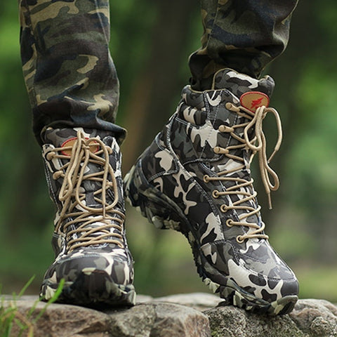 Men's Outdoor Camouflage Military Combat Boots Travel Botas Hiking Shoes