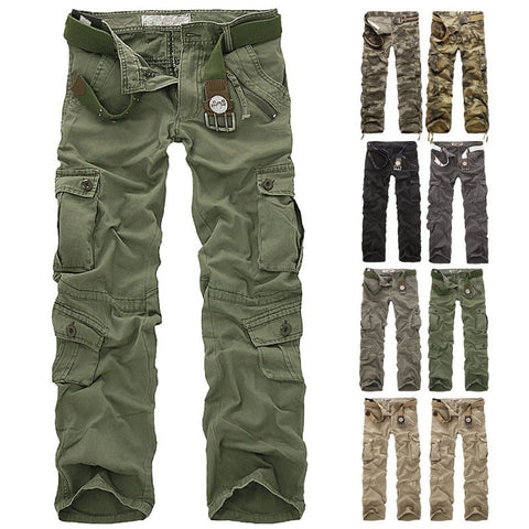 Fashion Mens Military Casual Multi-pocket Cargo Army Work Combat Pants Trousers Plus Size 30-40