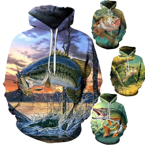 Unisex 3d Fish Printed Hooded Sweatshirt with Pocket