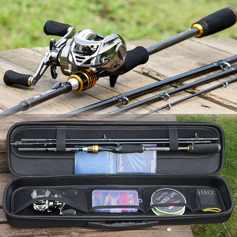 Sougayilang Fishing Rod Reel Combo Carbon Fiber 4 Piece Casting Rod and Baitcasting Reel Freshwater Saltwater Lure Bass Fishing Set