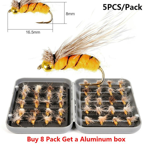 5pcs/Pack Realistic Bumble Bee Fly For Trout Fishing Artificial Insect Bait Lure