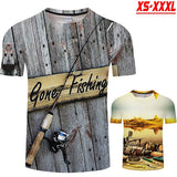 Men Women Cool 3D Print T-shirt Gone Fishing Short Sleeve Tees