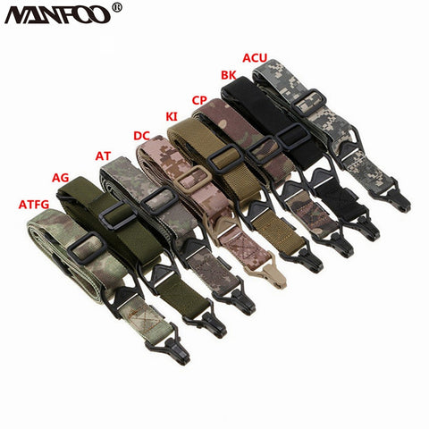 High Quality Nylon Outdoor Durable Tactical 1 or 2 Point Rifle Sling Strap Adjustable Bungee Sling Swivels Hunting Gun Strap