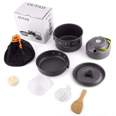 Outdoor Camping Cookware Mini Pot Pans Kettle Bowls  Non stick Set Hiking Backpacking Picnic Cutlery Utensils Trekking Travel