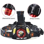 ZK20 Dropshipping T6+2COB 8000LM Rechargeable LED Headlamp Headlight  Zoom Head Fishing Light Lamp 18650 Battery AC USB Charger
