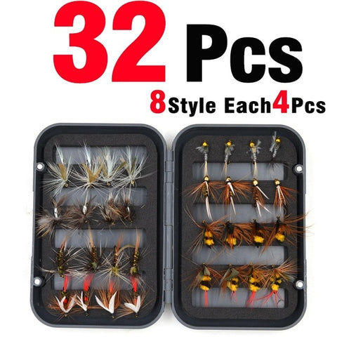 MNFT 32Pcs/Box Trout Nymph Fly Fishing Lure Dry/Wet Flies Nymphs Ice Fishing Lures Artificial Bait with Boxed